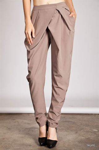 Taupe High Waisted Harem Trouser Pants - Shop for You Boutique