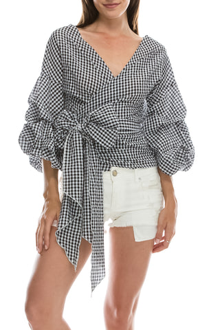 Black and White Checkered Skirt Set With Renaissance Sleeves