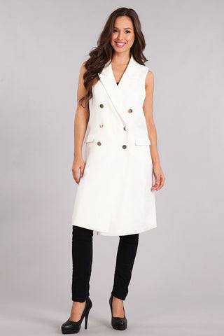 White Military Gold Button Dress/Vest