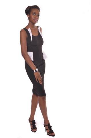 Two Tone Sleeveless Peplum Midi Dress - Shop for You Boutique