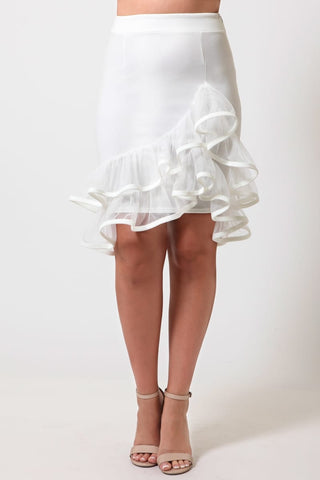 White Ruffled Tulle Skirt