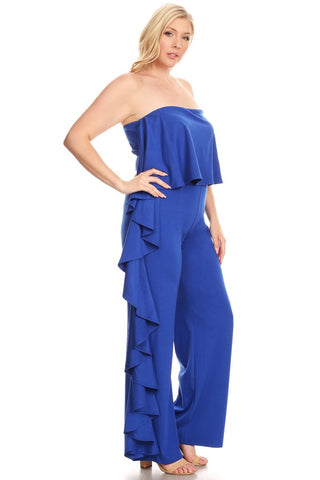 Strapless Blue Ruffle Jumpsuit