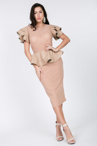 Taupe/Nude Mesh Peplum Dress