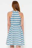 Vintage Skater Dress With White Background & Blue Stripes - Shop for You Boutique
