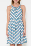 Vintage Skater Dress With White Background & Blue Stripes