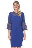 Blue Dress With Lace Collar and Bell Sleeves