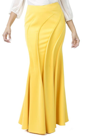 Mermaid Skirt With Wave Detail in Black or Yellow