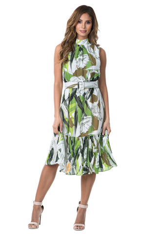 Pleated Green Floral Dress With Belt