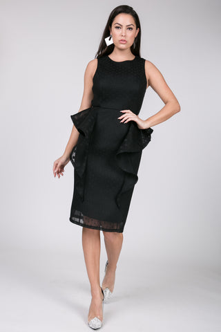 Black Mesh Side Ruffle Dress