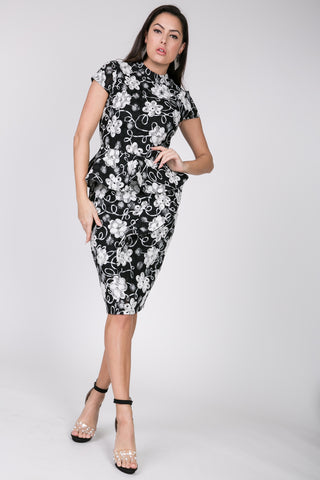Black & White Side Peplum Dress