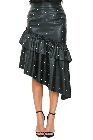 Faux Leather Mermaid Skirt With Pearl Detail - Black or Mauve