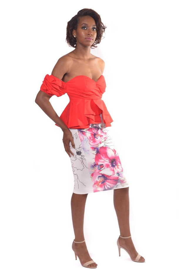 Red Puff Sleeve Off The Shoulder Peplum Top Shop For You