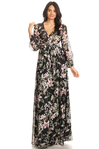 Black Floral Chiffon Maxi With Ankle Length Lining