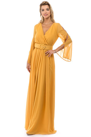 Belted Chiffon Mustard Open Sleeve Maxi Dress