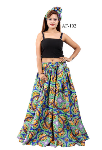 Elastic Waistband One Size Fits Most With Head Wrap Ankara Skirt