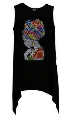 Multi-Colored Rhinestone African Woman Sharkbite Top