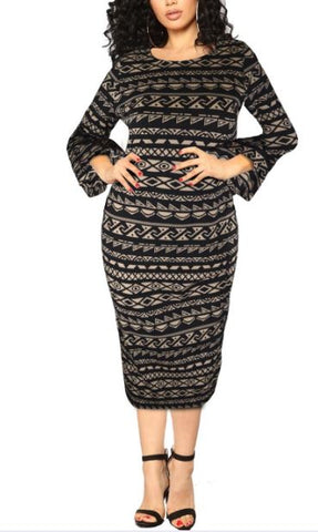 Bellpepper Sleeve Black and Taupe Dress- Plus