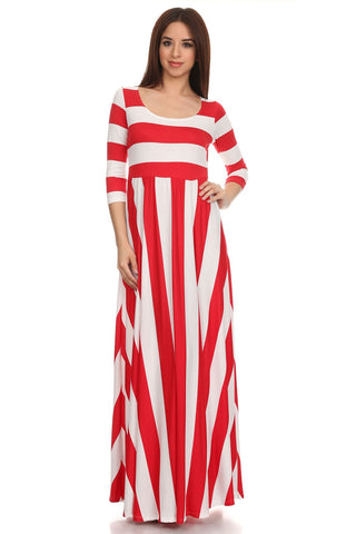 Red and White Stripe Maxi Dress