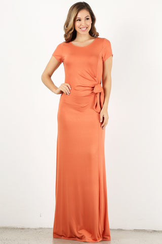 Orange Wrap Maxi Dress