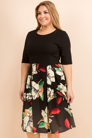 Black Floral Fit and Flare Dress - Plus