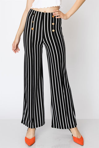 High Waisted Black and White Stripe Pants With Gold Buttons