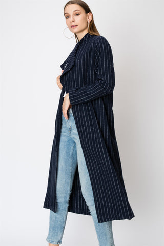 Navy Pinstripe Wool Coat