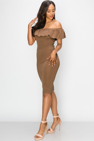 Mocha Off Shoulder Pencil Skirt Set