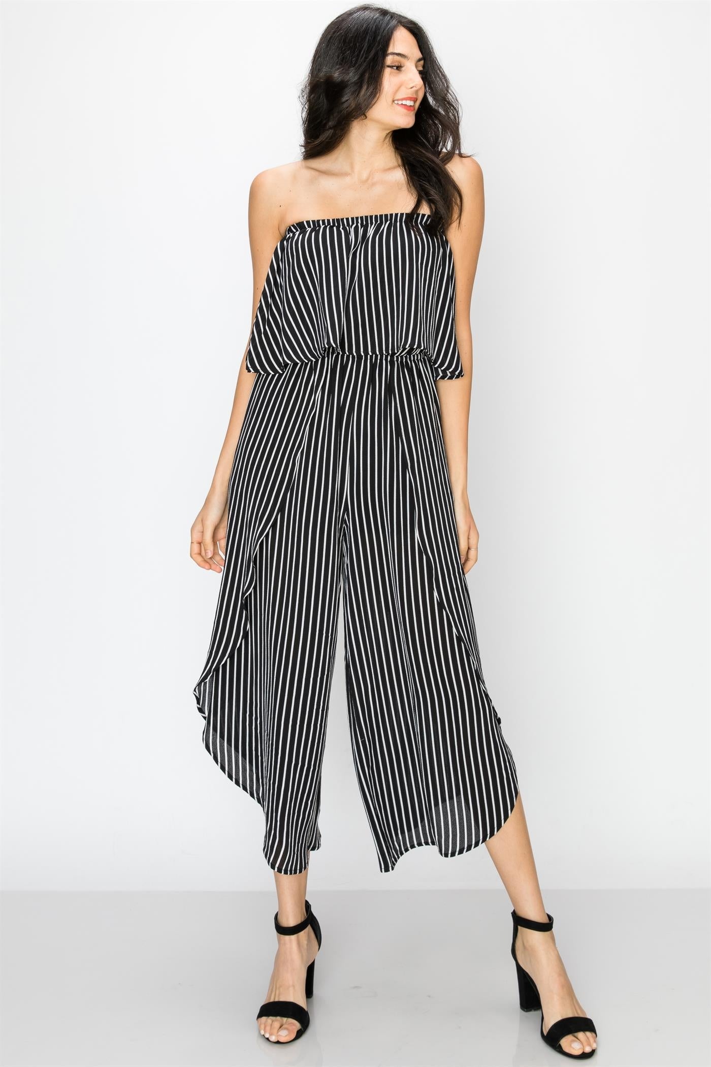 f83953434408 Black and White Striped Strapless Gaucho Jumpsuit – Shop For You