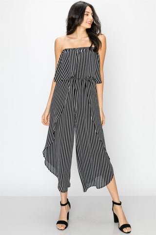 Black and White Striped Strapless Gaucho Jumpsuit