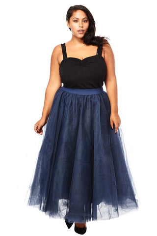 Navy Tulle Skirt - Plus