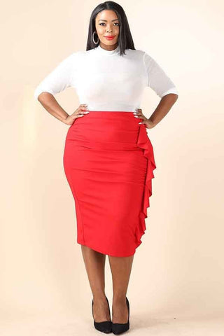 Red Ruffled Midi Skirt - Plus