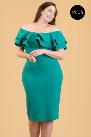 Kelley Green Off Shoulder Plus Size Dress With Spanish Ruffle