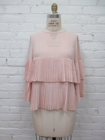 Blush Shirt With Layered Pleats