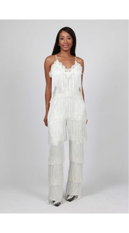 White Fringe Plus Size Jumpsuit