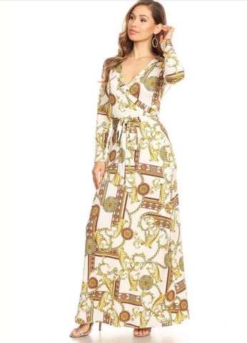 White and Gold Luxury Print Long Maxi - Plus & Regular Sizes