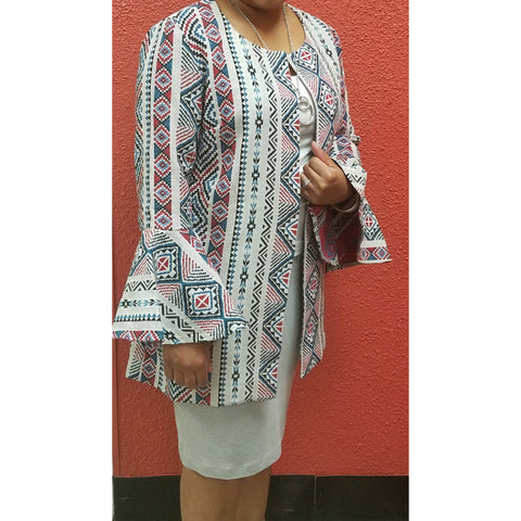 Gray Blazer With Aztec Design & Bell Sleeve