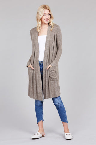 Plus Long Cardigan With Open Pocket - 3 Colors