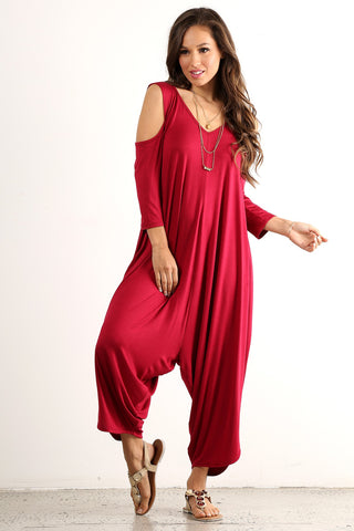 Red Harem Cold Shoulder Jumpsuit