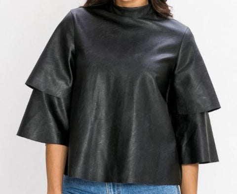 Faux Leather Layered Sleeve Top