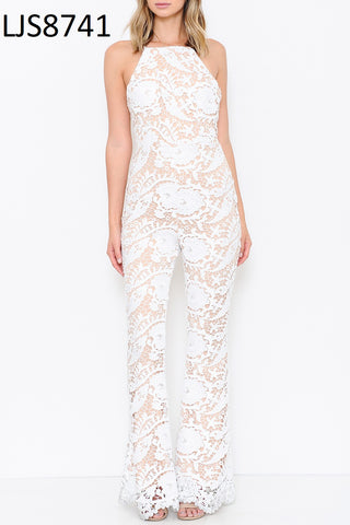 Ivory Lace Jumpsuit With Nude Lining