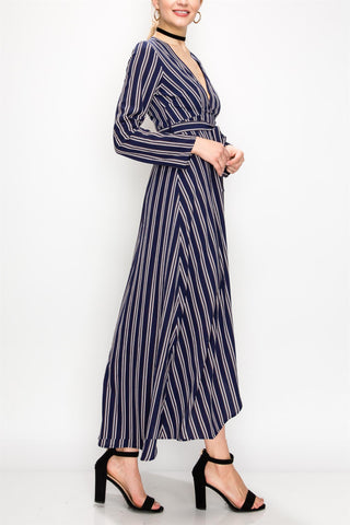 Navy & White Stripe Wrap Dress