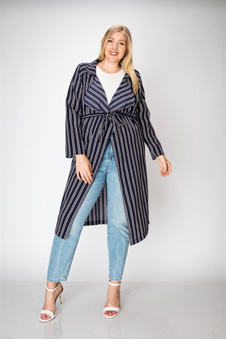 Plus Navy & White Stripe Trench Jacket