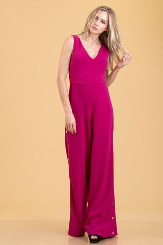 Magenta Jumpsuit With Snap Gold Buttons
