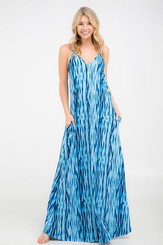 Blue Tye Dye Maxi With Pockets & Adjustable Straps