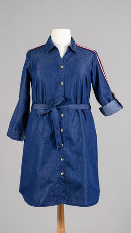 Denim Dress With Stripe Sleeve and Belt