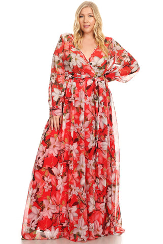 Red Floral Chiffon Maxi