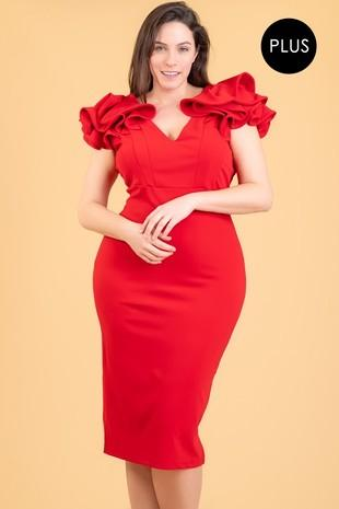 Red Ruffle Shoulder Midi Dress