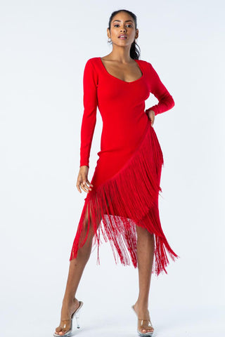 Red Fringe Dress