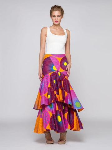 Layered Mermaid African Skirt -Hot Pink