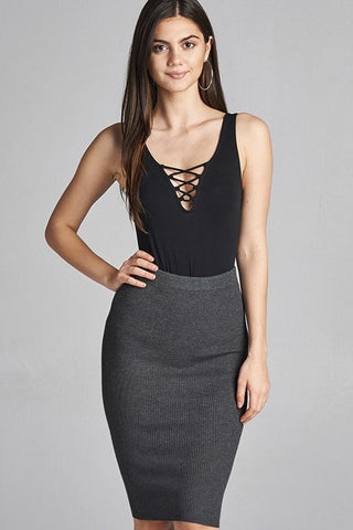 Charcoal Gray Pencil Skirt